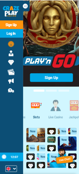 CrazePlay mobilcasino