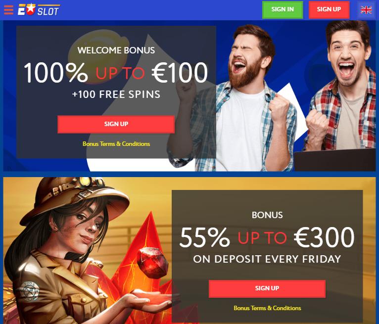 Euslot Casino bonusar som erbjuds