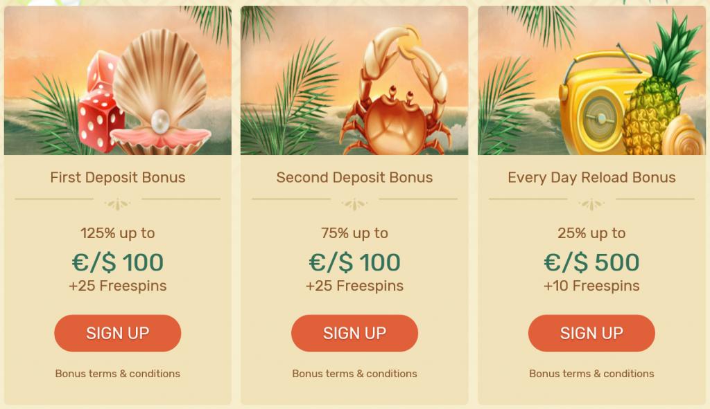 paradise casino bonusar